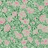 Modèle sans couture de roses roses sur le fond vert illustration de vecteur
