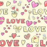Modèle sans couture de Saint-Valentin avec des attributs d'amour illustration stock