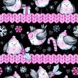 Modèle sans couture de salutation d'aquarelle avec les oiseaux de vol mignons et les frontières tricotées An neuf Illustration de illustration de vecteur