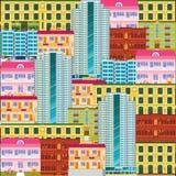 Modèle sans couture de scape de ville Fond d'hôtels et de motels de bande dessinée Paysage du centre avec de hauts gratte-ciel Pa illustration libre de droits