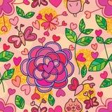 Modèle sans couture de scintillement d'or d'amour de fleur de papillon de chat illustration de vecteur