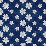 Modèle sans couture de scintillement d'or de fleur de Sakura de Japonais Images stock