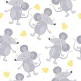 Modèle sans couture de souris tirée par la main mignonne de griffonnage Image stock