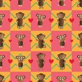 Modèle sans couture de style de symétrie de singe illustration stock