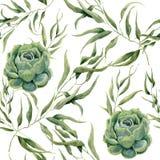 Modèle sans couture de succulents d'aquarelle et de feuilles d'eucalyptus sur le fond blanc Texture florale pour la conception, l Image stock