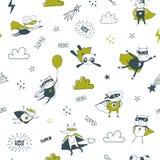 Modèle sans couture de super héros pour des enfants Illustration de vecteur de dessin animé illustration de vecteur