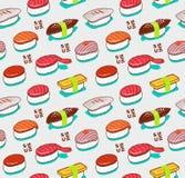 Modèle sans couture de sushi de nigiri de vecteur Couverture de nourriture de griffonnage de Japonais dans le style de croquis de Image stock