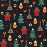 Modèle sans couture de symboles russes sur le fond foncé illustration stock
