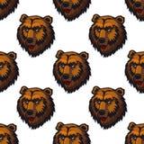 Modèle sans couture de tête d'ours brun Image libre de droits