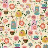 Modèle sans couture de Tea Party de jardin illustration de vecteur