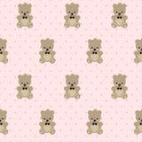 Modèle sans couture de Teddy Bear sur le fond rose de points de polka Image libre de droits