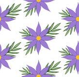 Modèle sans couture de textile avec la clématite pourpre et les feuilles vertes illustration de vecteur
