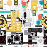 Modèle sans couture de textile des appareils électroniques illustration libre de droits