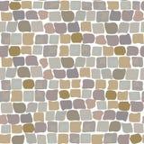 Modèle sans couture de texture de route de pavés mur de pierre, rue pavée en cailloutis Images stock