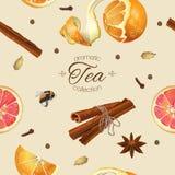Modèle sans couture de thé d'épice Images stock