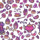 Modèle sans couture de thé Modèle de bonbons Illustration Stock