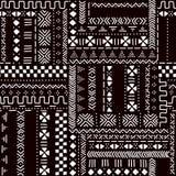 Modèle sans couture de tissu africain traditionnel noir et blanc de mudcloth, vecteur Image libre de droits