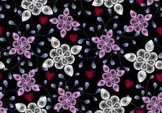 Modèle sans couture de trame des feuilles et des fleurs transparentes abstraites et coeurs rouges sur un fond noir Photographie stock libre de droits