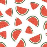Modèle sans couture de tranche de pastèque sur le fond blanc Illustration de vecteur Images stock