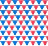 Modèle sans couture de tri de bleu, rouge et blanc équilateral commandé illustration stock