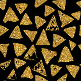 Modèle sans couture de triangles avec la texture d'or de scintillement illustration stock