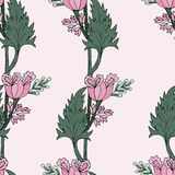 Modèle sans couture de tulipes de rose Illustration de vecteur illustration libre de droits
