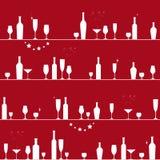 Modèle sans couture de vacances avec des verres et des bouteilles Image stock