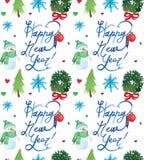 Modèle sans couture de vacances de Noël d'aquarelle avec la copie de bonhomme de neige, d'arbres, de cerfs communs et de bonne an illustration de vecteur
