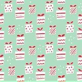 Modèle sans couture de vacances de vecteur de cadeaux tirés par la main de Noël Images stock