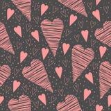 Modèle sans couture de Valentine avec les coeurs roses sur un fond gris Photos stock
