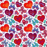 Modèle sans couture de valentine avec les papillons rouges et bleus colorés de vintage, fleurs, coeurs Illustration de vecteur Photographie stock