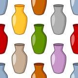 Modèle sans couture de vase coloré à bande dessinée Images stock