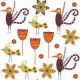 Modèle sans couture de vecteur abstrait floral d'oiseaux de nature C'est des remplaçants Images stock