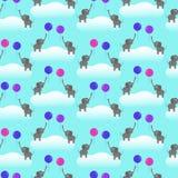 Modèle sans couture de vecteur avec des éléphants et des ballons Image libre de droits