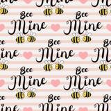 Modèle sans couture de vecteur avec des abeilles dans l'amour Texte de mine d'abeille illustration stock
