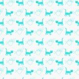 Modèle sans couture de vecteur avec des chats et des coeurs illustration de vecteur