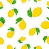 Modèle sans couture de vecteur avec des citrons Couleur sur le blanc illustration libre de droits