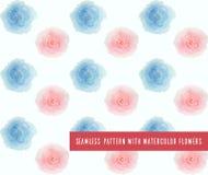 Modèle sans couture de vecteur avec des fleurs d'aquarelle illustration de vecteur