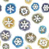 Modèle sans couture de vecteur avec des flocons de neige d'aquarelle Photos libres de droits