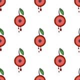 Modèle sans couture de vecteur avec des fruits Fond symétrique avec des cerises et des feuilles sur le contexte blanc illustration de vecteur