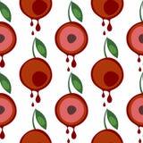 Modèle sans couture de vecteur avec des fruits Fond symétrique avec des cerises et des feuilles sur le contexte blanc illustration stock