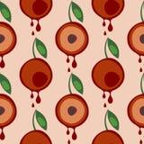 Modèle sans couture de vecteur avec des fruits Fond symétrique avec des cerises et des feuilles sur le contexte rose illustration de vecteur