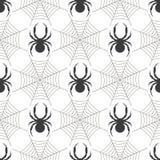 Modèle sans couture de vecteur avec des insectes, fond noir et blanc géométrique symétrique avec les araignées et la toile d'arai illustration de vecteur