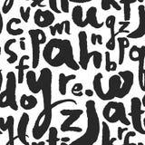 Modèle sans couture de vecteur avec des lettres de calligraphie d'A à Z Photographie stock
