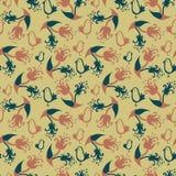 Modèle sans couture de vecteur avec des motifs floraux et des oiseaux illustration stock