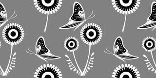 Modèle sans couture de vecteur avec des pissenlits, papillons Illustration dessinée par graphique Fond décoratif floral avec l'in Photographie stock libre de droits
