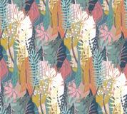 Modèle sans couture de vecteur avec des plantes tropicales et des textures abstraites tirées par la main illustration de vecteur