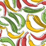 Modèle sans couture de vecteur avec des poivrons Images libres de droits