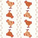 Modèle sans couture de vecteur avec des poulets Thème d'animal de ferme Modèle coloré de poulet pour le textile, papier, livre, j illustration stock