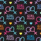 Modèle sans couture de vecteur avec des symboles lesbiens et féministes Image stock